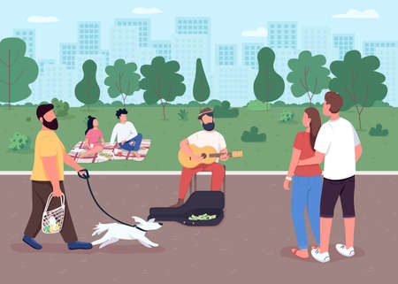 Guitarist on street flat color vector illustration. Acoustic guitar player earn money. Outdoors music concert. Performing musician 2D cartoon characters with urban park on background