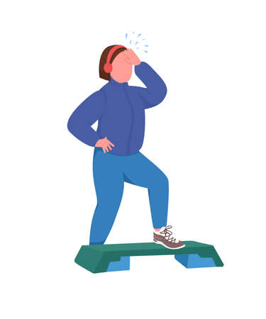 Sportswoman flat color vector faceless character. Fitness training. Step up aerobics. Woman working out. Healthy lifestyle isolated cartoon illustration for web graphic design and animation