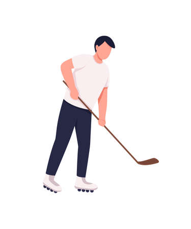 Field hockey player flat color vector faceless character. Athlete with stick and puck. Hobbyist sportsman. Competitive sport isolated cartoon illustration for web graphic design and animation