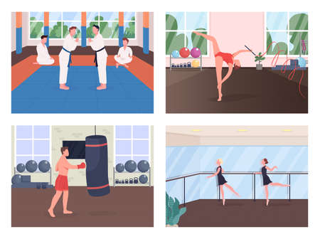 Gym training flat color vector illustration set. Martial arts exercise. Gymnast rehearsing. Ballet dancer lesson. Sportsman 2D cartoon characters with training studio on background collection