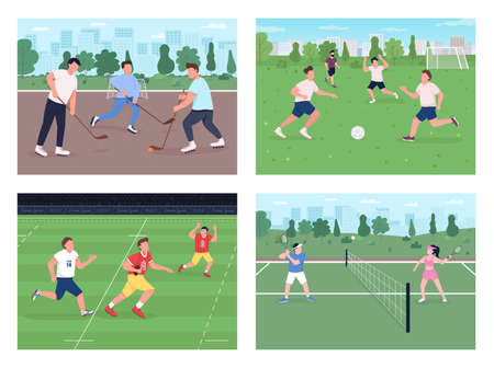 Outdoor sports match flat color vector illustration set. People play soccer. Hockey field. Football team. Urban park for physical activity 2D cartoon landscape with skyline on background collection Stock Illustratie