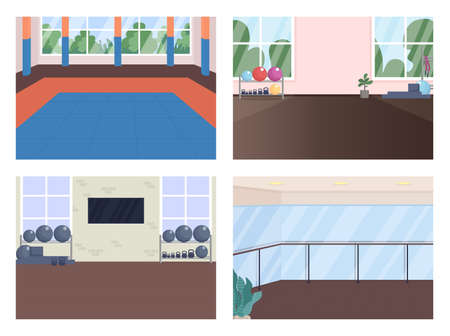 Gym room flat color vector illustration set. Ballet dance hall. Martial arts, powerlifting center. Studio for physical training 2D cartoon interior with sports equipment on background collection