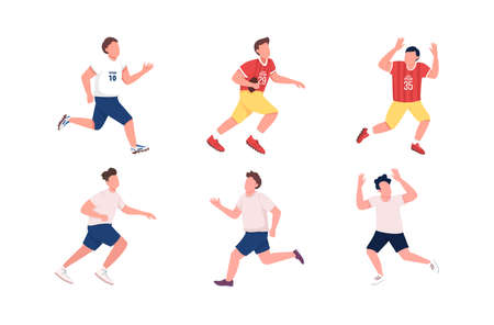 Football players flat color vector faceless character set. Athlete running. Man catch ball. Soccer, rugby team. Sportsmen isolated cartoon illustration for web graphic design and animation collection