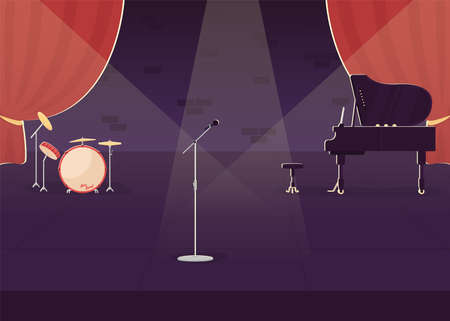 Jazz concert preparation flat color vector illustration. Live stage performance. Nightlife entertainment show. Empty music hall 2D cartoon interior with musical instruments on background Ilustracja