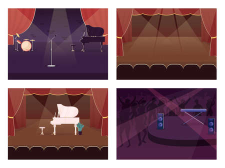 Empty music stage flat color vector illustration set. Spotlight for live concert. Performance and party. Music hall 2D cartoon interior with musical instruments on background collection