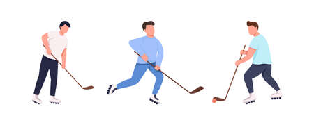 Hockey team flat color vector faceless character set. Players with stick and puck. Sportsman on roller skates. Competitive sport isolated cartoon illustration for web graphic design and animation pack