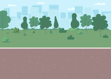 Park way flat color vector illustration. Parkway with lawn, walkway. Place for recreation. Downtown district with nature. Metropolis street 2D cartoon landscape with skyline on background Çizim