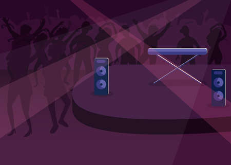 Nightclub flat color vector illustration. Nightlife entertainment. Modern discotheque. Dynamic music. Club for dancing. Disco hall 2D cartoon interior with crowd and stage on background