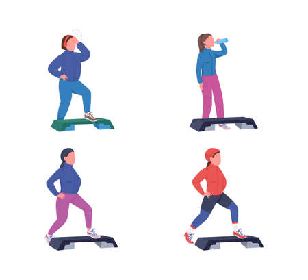 Exercising women flat color vector faceless character set. Fitness workout with deck. Sports training. Step up aerobics isolated cartoon illustration for web graphic design and animation collection