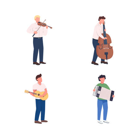 Orchestra musicians flat color vector faceless character set. Play melody. Classical music instruments players isolated cartoon illustration for web graphic design and animation collection Ilustracje wektorowe