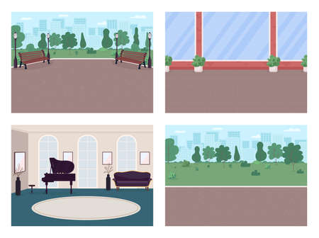 Urban street and luxury house flat color vector illustration set. Park walkway. Place for recreation 2D cartoon interior, landscape with house walls, city skyline on background collection