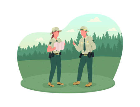 Environmental police 2D vector web banner, poster. Forest protection. Ranger instructor. Police officers flat characters on cartoon background. Law enforcement printable patch, colorful web element