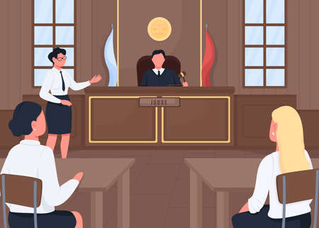 Attorney in legal court flat color vector illustration. Judgment procedure. Lawsuit hearing. Judge, witness and prosecutor 2D cartoon characters with courthouse interior on background