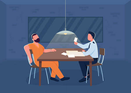 Police interrogation flat color vector illustration. Room for investigation. Cop interrogate suspect for confession. Policeman and prisoner 2D cartoon characters with department interior on background
