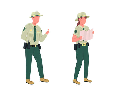 Environmental police male officer flat color vector faceless character set. Forest protection. Law enforcement guards isolated cartoon illustration for web graphic design and animation collection
