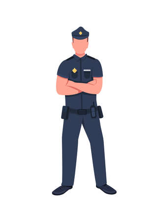 Police officer flat color vector faceless character. Legal enforcement. Security guard. Cop in uniform with arms crossed isolated cartoon illustration for web graphic design and animation