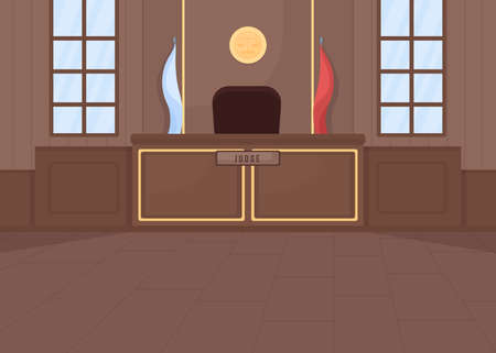 Supreme courthouse flat color vector illustration. Legal procedure. Criminal law. Legislation system. Trial process. Empty court room 2D cartoon interior with judge stand on background  イラスト・ベクター素材