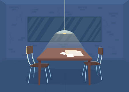Interrogation room flat color vector illustration. Police department. Detective office. Detention for crime suspect. Empty investigation room 2D cartoon interior with two sided mirror on background