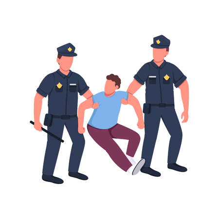 Police arresting criminal flat color vector faceless characters. Law violation regulation. Officer caught man. Crime punishment isolated cartoon illustration for web graphic design and animation