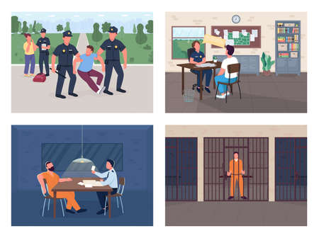 Police investigation flat color vector illustration set. Arrest burglar. Officer interview victim. Policeman, witness and criminal 2D cartoon characters with department interior on background pack Vektorové ilustrace