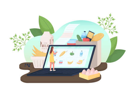 Order groceries online flat concept vector illustration. Supermarket food. Woman choosing products 2D cartoon characters for web design. Internet retail service creative idea collection 矢量图像