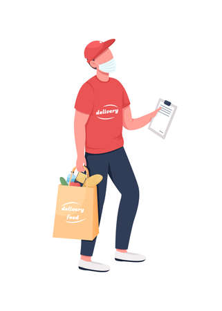 Groceries delivery carrier in mask flat color vector faceless character. Online order in package. Courier with clipboard isolated cartoon illustration for web graphic design and animation 矢量图像