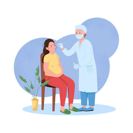 Pregnant woman health check flat concept vector illustration. Examination for disease. Patient and doctor 2D cartoon characters for web design. Covid pandemic healthcare precaution creative idea