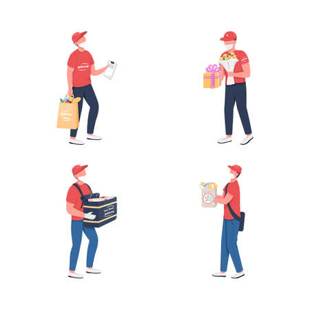 Delivery courier in mask flat color vector faceless character set. Food, product carrier. Lockdown shipment services isolated cartoon illustration for web graphic design and animation collection 矢量图像
