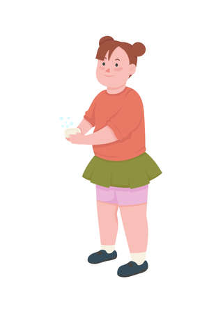 Girl wash hands flat color vector faceless character. Kid hold soap. Cleaning from germs. Personal hygiene. Sanitation isolated cartoon illustration for web graphic design and animation