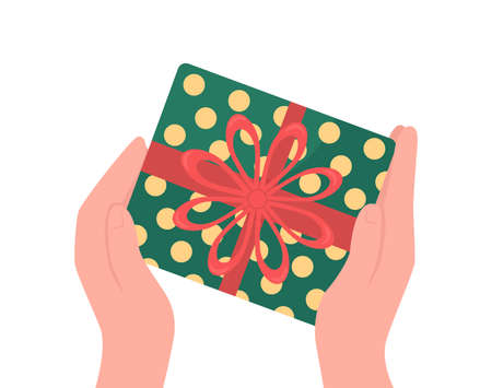 Hands give wrapped gift flat color vector object. Christmas present with ribbon bow. Festive offer. Holiday celebration isolated cartoon illustration for web graphic design and animation