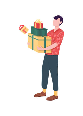 Man with gift boxes flat color vector faceless character. Christmas presents. Guy with packages. Holiday celebration isolated cartoon illustration for web graphic design and animation