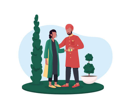 Indian couple exchange gifts 2D vector web banner, poster. Boyfriend and girlfriend flat characters on cartoon background. Holiday celebration printable patch, colorful web element