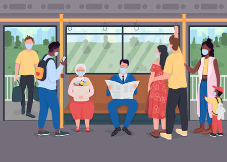 Passengers in masks in public transport flat color vector illustration. Healthcare during lockdown. Crowd during pandemic 2D cartoon characters with transport interior on background