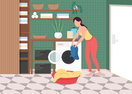 Laundry at home flat color vector illustration. Everyday house chores. Washing machine. Housework, housekeeping. Woman with clean clothes 2D cartoon character with bathroom interior on background Vektorové ilustrace