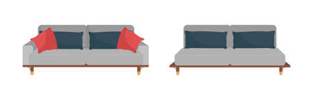 Gray sofa with black and red pillows flat color vector object set. Living room furniture. Trendy couch with cushions isolated cartoon illustration for web graphic design and animation collection