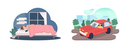 Nighttime, daytime lifestyle flat color vector faceless character set. Woman text on phone. Man drive car. Daily routine isolated cartoon illustration for web graphic design and animation collection