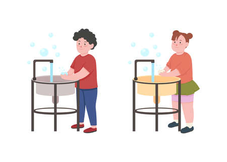 Kids wash hands with soap flat color vector faceless character set. Children rinsing and rubbing hands for precaution isolated cartoon illustration for web graphic design and animation collection