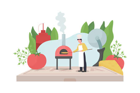 Pizza maker flat concept vector illustration. Professional chef. Baker in kitchen. Traditional brick oven. Pizzaiolo 2D cartoon character for web design. Fast food preparation creative idea