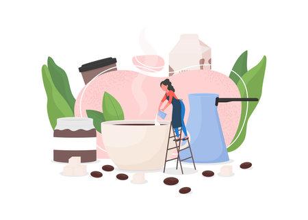 Barista flat concept vector illustration. Girl prepare cappuccino. Woman make latte. Pour milk in cup. Brew espresso. Coffeeshop worker 2D cartoon character for web design. Coffee making creative idea