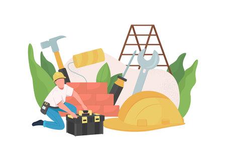 Handyman flat concept vector illustration. Service worker. Repairman profession. Builder job. Engineer with tools. Home master 2D cartoon character for web design. House renovation creative idea
