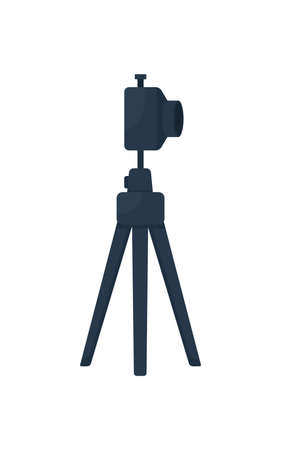 Camera on tripod flat color vector object. Blogging equipment. Photography job. Professional technology for vlogging isolated cartoon illustration for web graphic design and animation