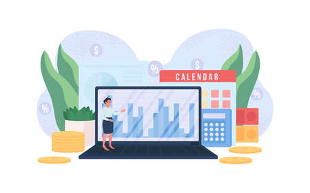 Accountant flat concept vector illustration. Woman with computer. Money report on laptop. Financial specialist 2D cartoon character for web design. Economy professional creative idea