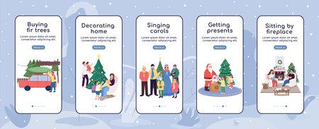 Christmas holiday season onboarding mobile app screen flat vector template. Buy fir tree for xmas. Walkthrough website steps with characters. UX, UI, GUI smartphone cartoon interface, case prints set 矢量图像