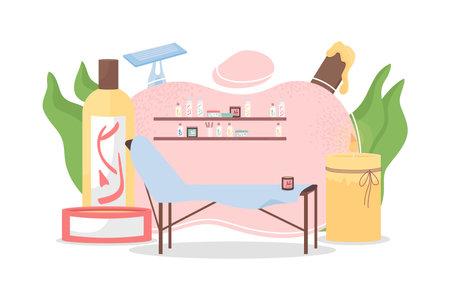 Beauty salon flat concept vector illustration. Cosmetologist, dermatologist workplace. Depilation, epilation. Beautician office 2D cartoon scene for web design. Spa parlor workplace creative idea Illusztráció