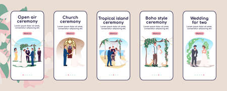 Wedding ceremony onboarding mobile app screen flat vector template. Newlyweds celebrate marriage. Walkthrough website steps with characters. UX, UI, GUI smartphone cartoon interface, case prints set