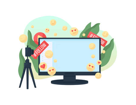 Streaming vlog flat concept vector illustration. Share, like and follow. Blogger audience watch content. Live video broadcast 2D cartoon scene for web design. Online entertainment creative idea 矢量图像