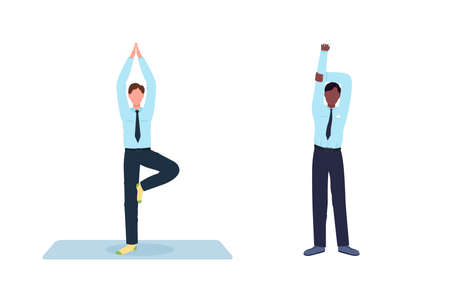 Employee exercising during work break flat color vector faceless character set. Workplace at workstation isolated cartoon illustration for web graphic design and animation collection 矢量图像