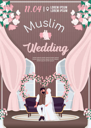 Muslim wedding invitation flat vector template. Islamic couple in traditional ceremonial clothes. Brochure, booklet one page concept design with cartoon characters. Marriage ceremony flyer, leaflet