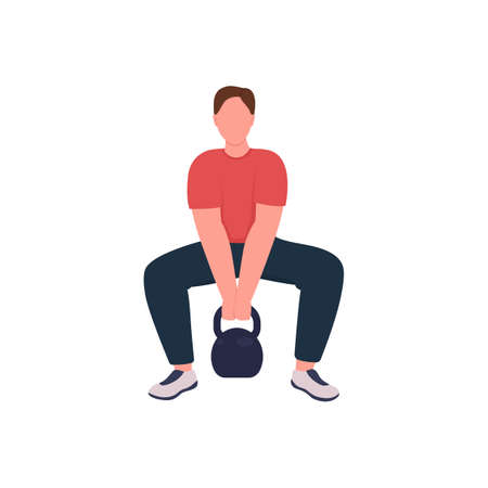 Male athlete with kettlebell flat color vector faceless character. Physical activity. Weight lifting, training. Sportsman isolated cartoon illustration for web graphic design and animation