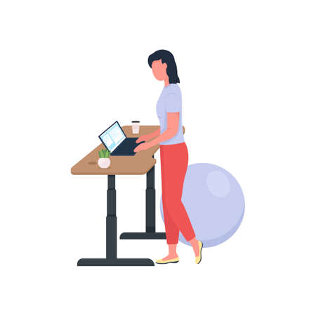 Woman working at standing desk flat color vector faceless character. Healthy lifestyle for employee. Workout at workplace isolated cartoon illustration for web graphic design and animation